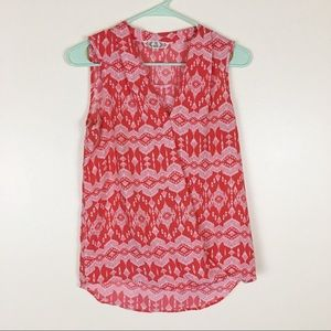 Pink Rose Coral Aztec Wrap Top